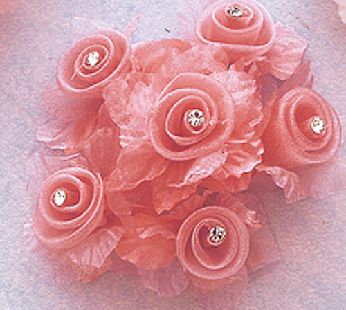 """1 3/4"""" Coral Organza Flowers with Rhinestone - Pack of 72"""