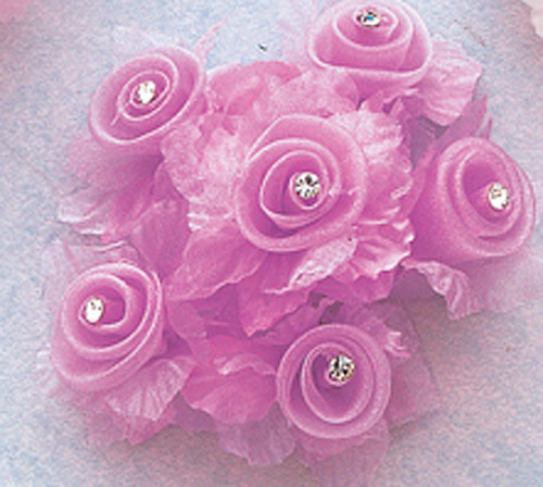 """1 3/4"""" Lavender Organza Flowers with Rhinestone - Pack of 72"""