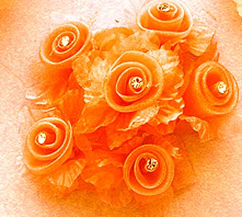 "1 3/4"" Orange Organza Flowers with Rhinestone - Pack of 72"