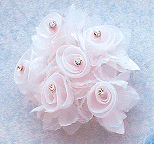 "1 3/4"" White Organza Flowers with Rhinestone - Pack of 72"