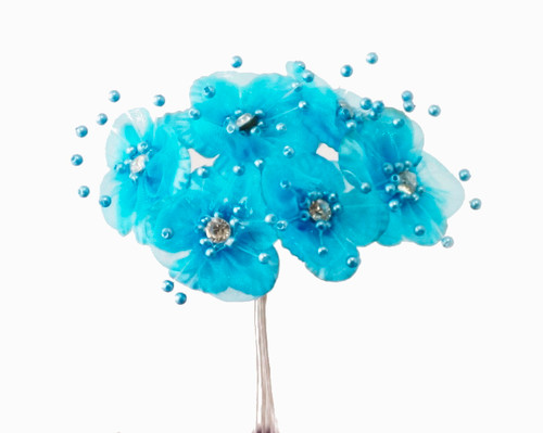 1 3 4 turquoise organza flowers with rhinestone pack of for Cb flowers and crafts