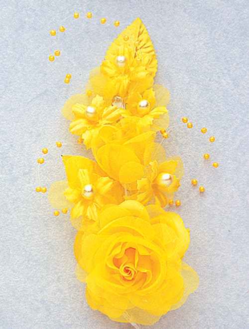 "6"" Dark Yellow Silk Corsage Flowers with Pearl Spray - Pack of 12"