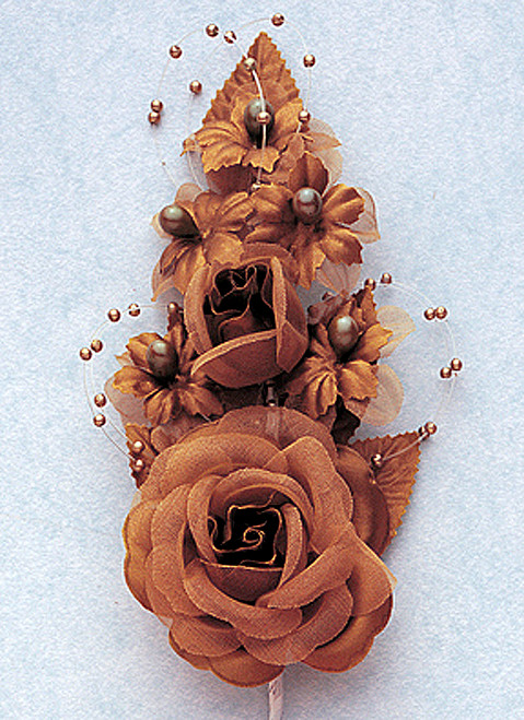 "6"" Brown Silk Corsage Flowers with Pearl Spray - Pack of 12"