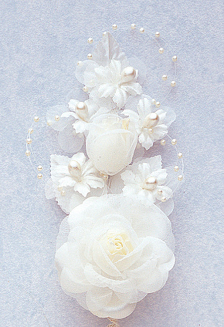 "6"" Ivory Silk Corsage Flowers with Pearl Spray - Pack of 12"