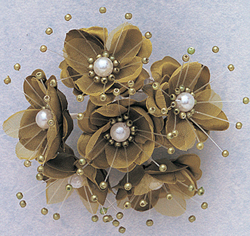 "1.5"" Moss Green Silk Flowers with Pearl - Pack of 72"