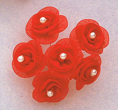"1 1/4"" Coral Satin Organza Flowers with Pearl - Pack of 72"