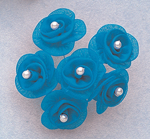 "1 1/4"" Turquoise Satin Organza Flowers with Pearl - Pack of 72"