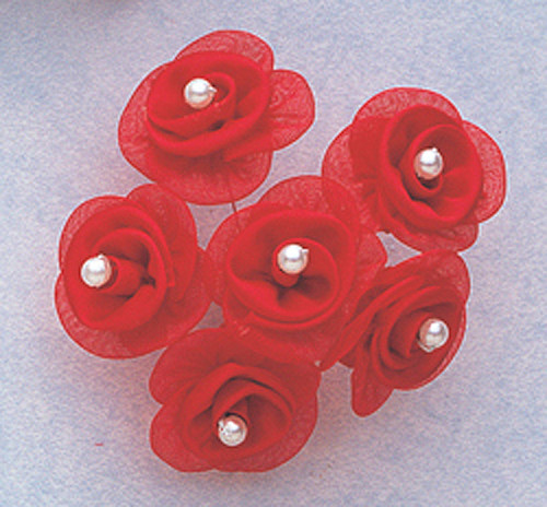 "1 1/4"" Red Satin Organza Flowers with Pearl - Pack of 72"