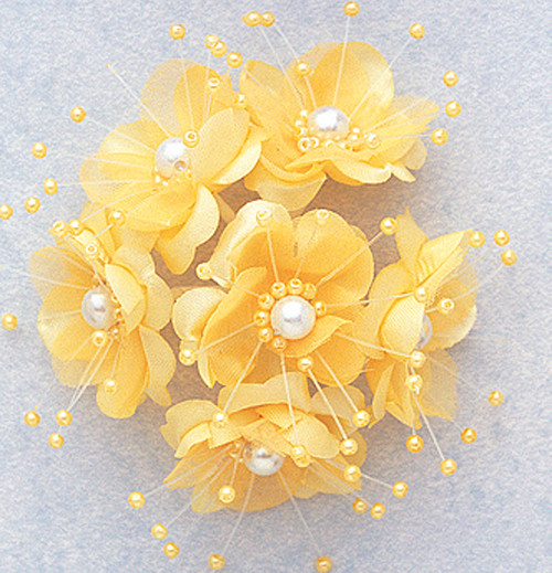 "1.5"" Banana Silk Flowers with Pearl - Pack of 72"
