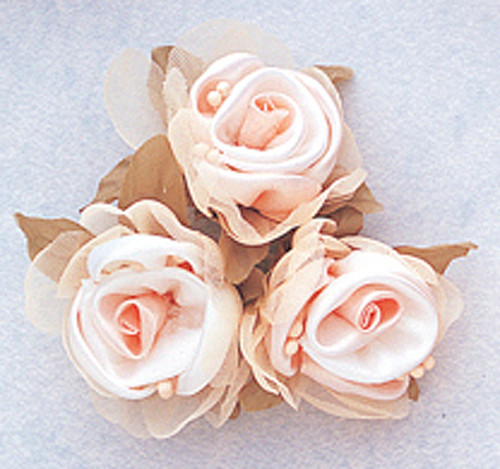 "2"" Peach Satin Silk Flowers with Leaves - Pack of 36"
