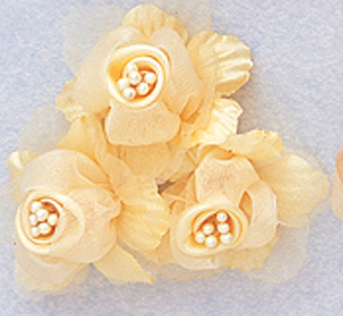 "2"" Banana Satin Silk Flowers with Pearl - Pack of 36"