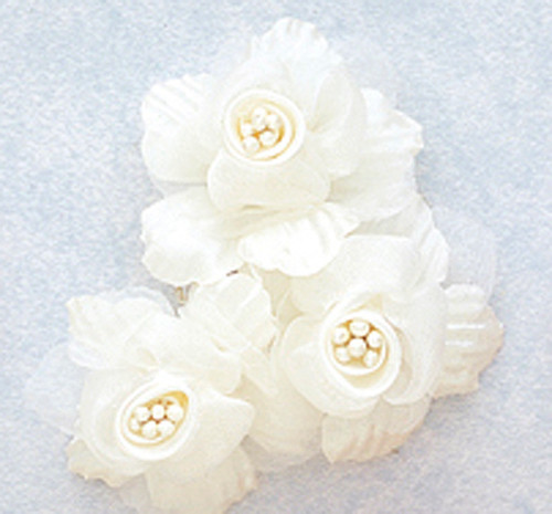 "2"" Ivory Satin Silk Flowers with Pearl - Pack of 36"