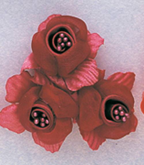 "2"" Burgundy Satin Silk Flowers with Pearl - Pack of 36"