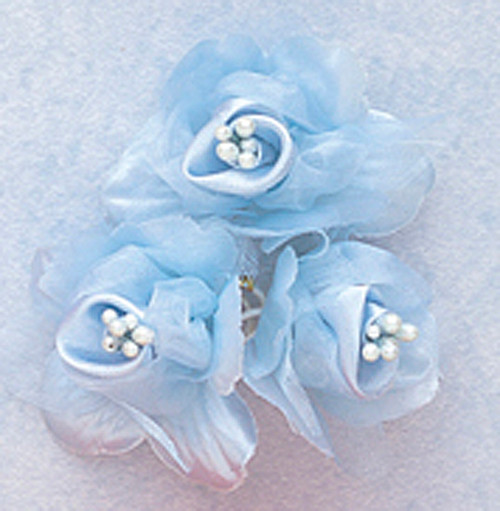 "2"" Light Blue Satin Silk Flowers with Pearl - Pack of 36"