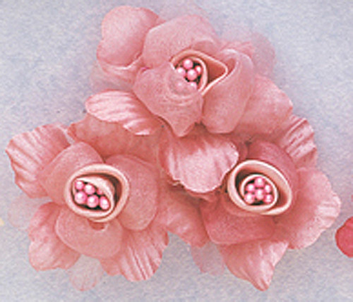 "2"" Mauve Satin Silk Flowers with Pearl - Pack of 36"