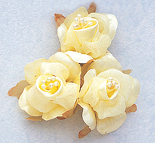 "1 3/4"" Banana Satin Silk Flowers with Pearl - Pack of 36"