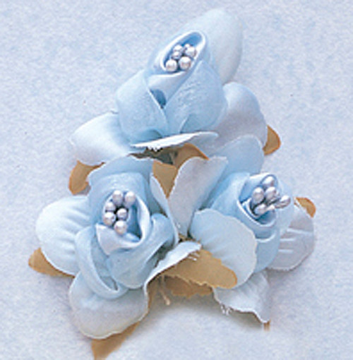 "1 3/4"" Light Blue Satin Silk Flowers with Pearl - Pack of 36"