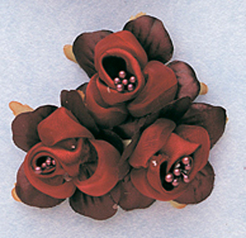 "1 3/4"" Burgundy Satin Silk Flowers with Pearl - Pack of 36"