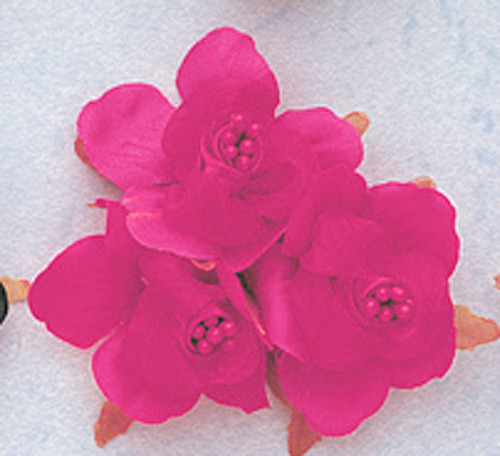 "1 3/4"" Fuchsia Satin Silk Flowers with Pearl - Pack of 36"