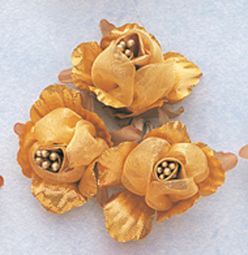 "1 3/4"" Gold Satin Silk Flowers with Pearl - Pack of 36"