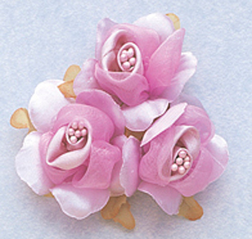 "1 3/4"" Lavender Satin Silk Flowers with Pearl - Pack of 36"