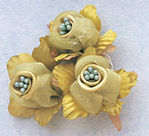 "1 3/4"" Olive Satin Silk Flowers with Pearl - Pack of 36"