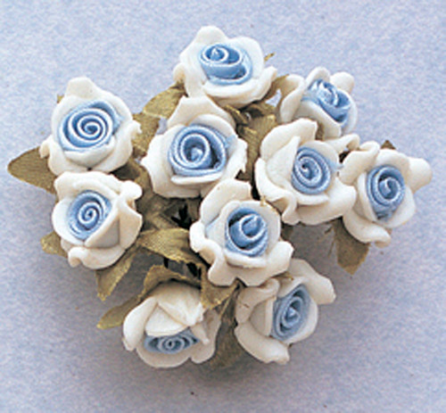 "5/8"" Light Blue Clay Satin Flowers with Leaves - Pack of 120"