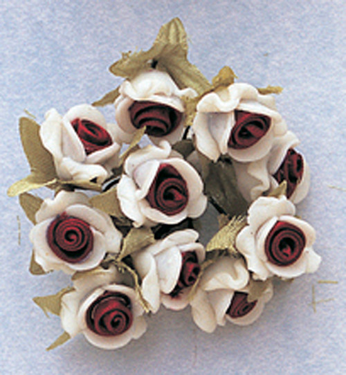 "5/8"" Burgundy Clay Satin Flowers with Leaves - Pack of 120"