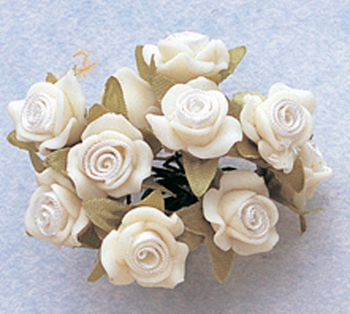 "5/8"" White Clay Satin Flowers with Leaves - Pack of 120"