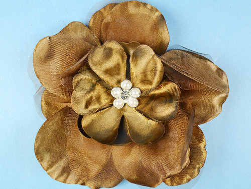 "4.5"" Brown Large Silk Flowers with Rhinestone - Pack of 12 Pieces"