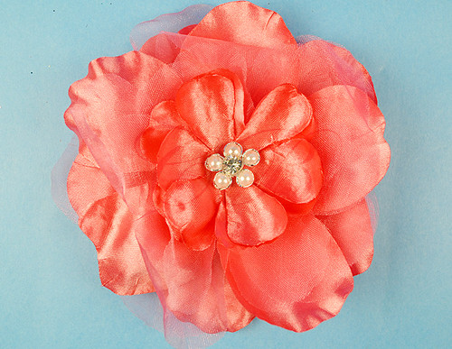 "4.5"" Coral Large Silk Flowers with Rhinestone - Pack of 12 Pieces"