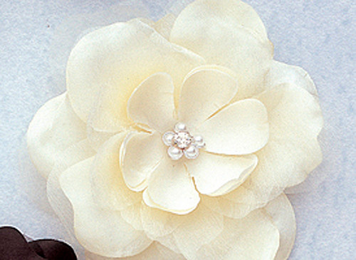 "4.5"" Ivory Large Silk Flowers with Rhinestone - Pack of 12 Pieces"