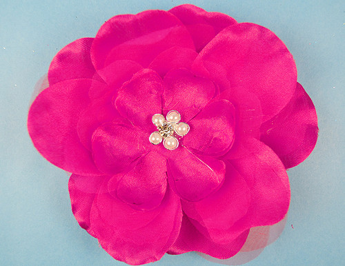 """4.5"""" Fuchsia Large Silk Flowers with Rhinestone - Pack of 12 Pieces"""