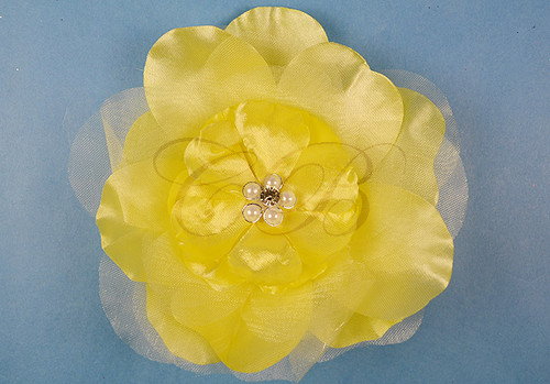 "4.5"" Light Yellow Large Silk Flowers with Rhinestone - Pack of 12 Pieces"