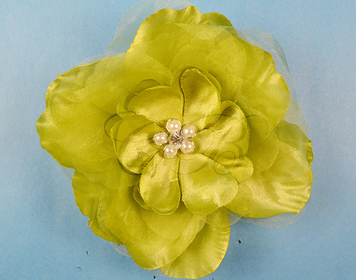 """4.5"""" Olive Large Silk Flowers with Rhinestone - Pack of 12 Pieces"""
