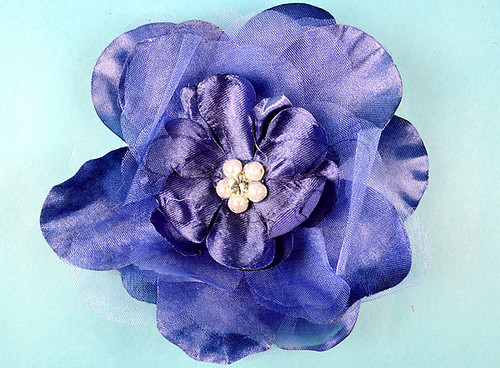 "4.5"" Navy Blue Large Silk Flowers with Rhinestone - Pack of 12 Pieces"
