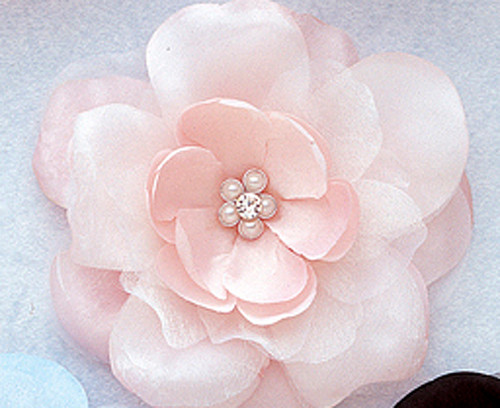 """4.5"""" Pink Large Silk Flowers with Rhinestone - Pack of 12 Pieces"""