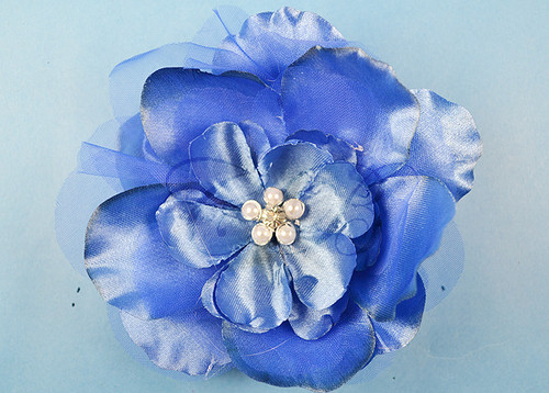 "4.5"" Royal Blue Large Silk Flowers with Rhinestone - Pack of 12 Pieces"