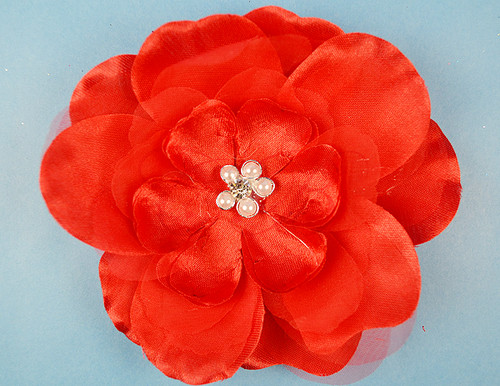 "4.5"" Red Large Silk Flowers with Rhinestone - Pack of 12 Pieces"