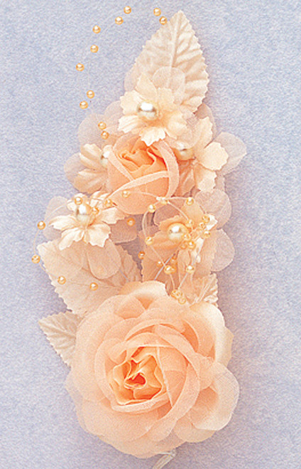 "6"" Peach Silk Corsage Flowers with Pearl Spray - Pack of 12"