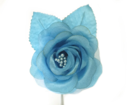 """2.5"""" Turquoise Silk Single Rose Flowers - Pack of 12"""