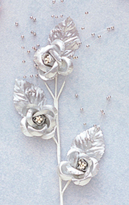 "6"" Silver Small Rose Flowers with Spray - Pack of 12"