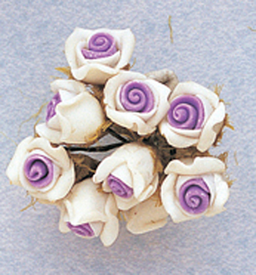 "5/8"" Lavender Clay Rose Flowers with Leaves - Pack of 120"