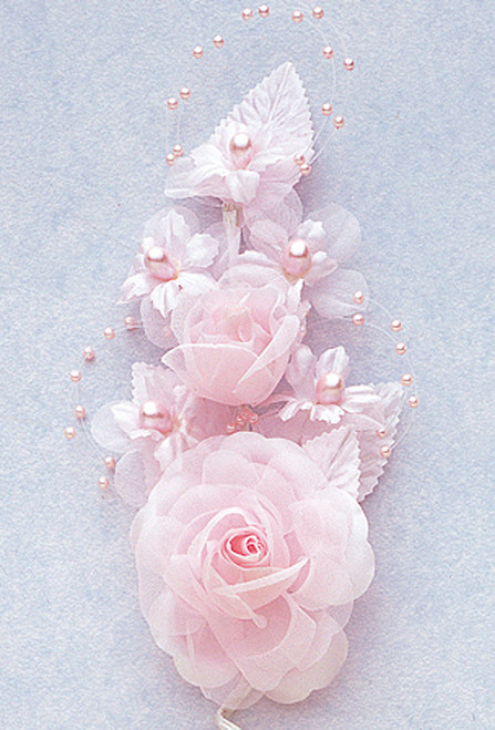 "6"" Pink Silk Corsage Flowers with Pearl Spray - Pack of 12"