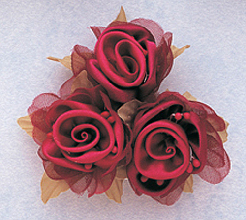 "2"" Burgundy Satin Silk Flowers with Leaves - Pack of 36"
