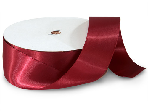 "1.5""x50 yard Burgundy Polyester Satin Gift Ribbon - Pack of 5 Rolls"