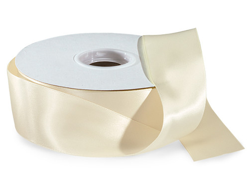 "1.5""x50 yard Ivory Polyester Satin Gift Ribbon - Pack of 5 Rolls"