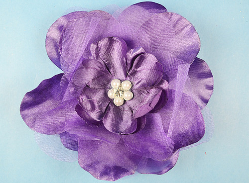 "4.5"" Purple Large Silk Flowers with Rhinestone - Pack of 12 Pieces"