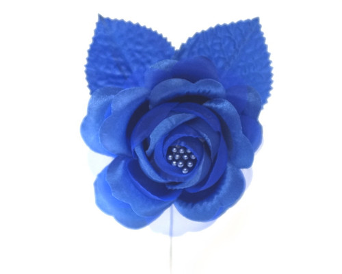 "2.5"" Royal Blue Silk Single Rose Flowers - Pack of 12"