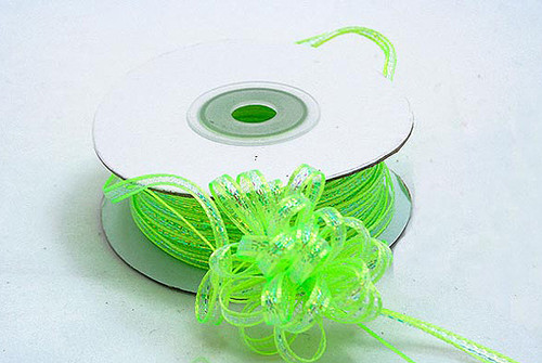 "1/4""x50 yards Apple Green Organza Pull Bows Ribbon with Iridescent Edge - Pack of 6 Rolls"